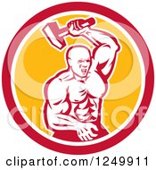 Clipart Of A Retro Muscular Blacksmith Hammering In A Circle Royalty Free Vector Illustration