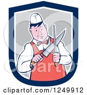 Clipart Of A Cartoon Male Butcher Sharpening A Knife In A Shield Royalty Free Vector Illustration