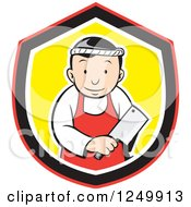 Clipart Of A Cartoon Asian Butcher Man With A Meat Ceaver In A Shield Royalty Free Vector Illustration