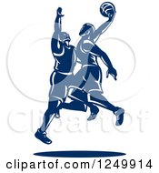 Clipart Of Retro Blue Male Basketball Players Royalty Free Vector Illustration by patrimonio