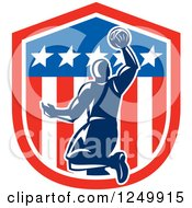Clipart Of A Retro Blue Basketball Player Dunking Over An American Shield Royalty Free Vector Illustration