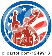 Clipart Of Retro Male Basketball Players In An American Flag Circle Royalty Free Vector Illustration