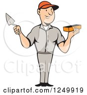 Clipart Of A Cartoon Male Mason Worker Holding A Brick And Trowel Royalty Free Vector Illustration by patrimonio