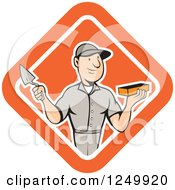 Cartoon Male Mason Worker Holding A Brick And Trowel In A Diamond