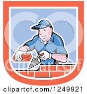 Cartoon Male Mason Worker Laying Bricks In A Shield