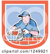 Clipart Of A Cartoon Male Mason Worker Laying Bricks In A Shield Royalty Free Vector Illustration