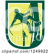 Clipart Of A Green Arborist Climbing A Pole In A Shield Royalty Free Vector Illustration
