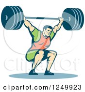 Clipart Of A Retro Male Bodybuilder Squatting With A Barbell Royalty Free Vector Illustration