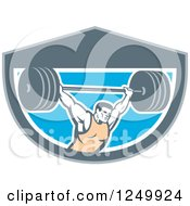 Clipart Of A Retro Male Bodybuilder Squatting With A Barbell In A Shield Royalty Free Vector Illustration
