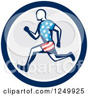Clipart Of A Retro Male American Runner In A Circle Royalty Free Vector Illustration by patrimonio