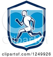 Clipart Of A Retro Male Runner In A Blue And White Shield Royalty Free Vector Illustration by patrimonio
