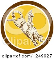 Poster, Art Print Of Retro Rodeo Cowboy On A Bucking Bull In A Circle