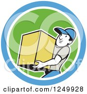 Clipart Of A Cartoon Delivery Man Carrying A Box In A Blue And Orange Circle Royalty Free Vector Illustration