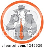 Clipart Of A Retro Male Detective Using A Magnifying Glass In A Circle Royalty Free Vector Illustration by patrimonio