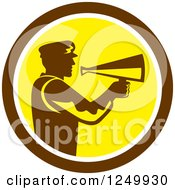 Clipart Of A Retro Silhouetted Director Using A Bullhorn In A Brown And Yellow Circle Royalty Free Vector Illustration by patrimonio