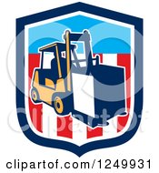 Clipart Of A Forklift With A Box On An American Shield Royalty Free Vector Illustration by patrimonio