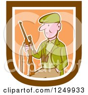 Clipart Of A Cartoon Male Hunter With A Rifle In A Shield Royalty Free Vector Illustration