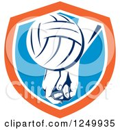Clipart Of A Volleyball And Hands In A Blue And Orange Shield Royalty Free Vector Illustration