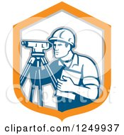 Clipart Of A Retro Male Surveyor In A Shield Royalty Free Vector Illustration by patrimonio