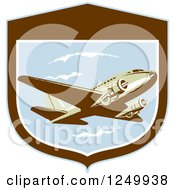 Retro DC10 Propeller Airplane In A Shield
