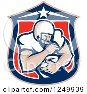 Clipart Of A Retro American Football Player Man In A Shield Royalty Free Vector Illustration