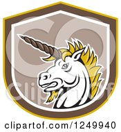Clipart Of A Retro Unicorn Head In A Shield Royalty Free Vector Illustration by patrimonio