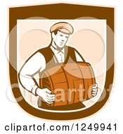 Clipart Of A Retro Male Bartender Carrying A Keg In A Shield Royalty Free Vector Illustration
