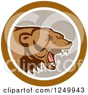 Clipart Of A Roaring Angry Grizzly Bear In A Gray And Brown Circle Royalty Free Vector Illustration by patrimonio
