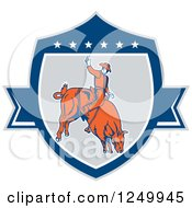 Clipart Of A Retro Rodeo Cowboy On A Bucking Bull In A Shield Royalty Free Vector Illustration