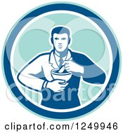 Retro Male Pharmacist With A Mortar And Pestle In A Circle
