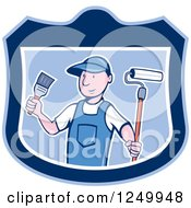 Poster, Art Print Of Cartoon Male Painter In A Blue Shield