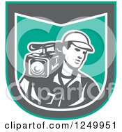 Clipart Of A Retro Male Cameraman Recording In A Green And Gray Shield Royalty Free Vector Illustration