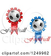 Clipart Of 1927 Football Ribbons With Soccer Balls Royalty Free Vector Illustration
