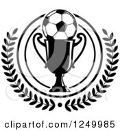 Clipart Of A Black And White Soccer Ball On A Trophy Cup In A Laurel Wreath Royalty Free Vector Illustration