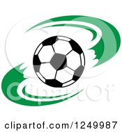 Clipart Of A Black And White Soccer Ball And Green Swooshes Royalty Free Vector Illustration by Vector Tradition SM