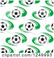 Clipart Of A Seamless Background Pattern Of Soccer Balls And Green Royalty Free Vector Illustration