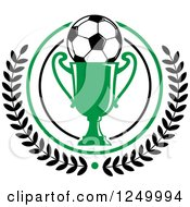 Clipart Of A Soccer Ball On A Green Trophy Cup In A Laurel Wreath Royalty Free Vector Illustration