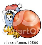 Blue Postal Mailbox Cartoon Character Wearing A Santa Hat Standing With A Christmas Bauble