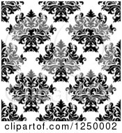 Clipart Of A Seamless Background Pattern Of Damask In Black And White Royalty Free Vector Illustration
