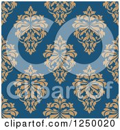 Clipart Of A Seamless Background Pattern Of Damask Royalty Free Vector Illustration