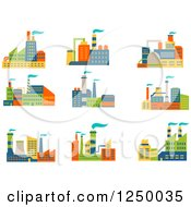 Clipart Of Colorful Factories Royalty Free Vector Illustration