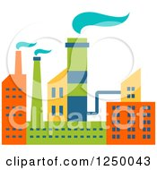 Clipart Of A Colorful Factory Royalty Free Vector Illustration by Vector Tradition SM