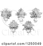 Clipart Of Black And White Henna Flowers 4 Royalty Free Vector Illustration