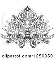 Clipart Of A Black And White Henna Lotus Flower 16 Royalty Free Vector Illustration