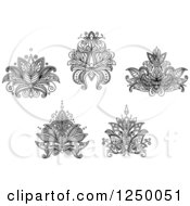 Clipart Of Black And White Henna Flowers 5 Royalty Free Vector Illustration