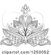 Clipart Of A Black And White Henna Lotus Flower 17 Royalty Free Vector Illustration