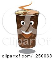 Clipart Of A Take Out Coffee Cup Character Royalty Free Vector Illustration