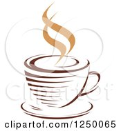 Clipart Of A Brown Cafe Coffee Cup With Steam 51 Royalty Free Vector Illustration