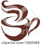 Clipart Of A Brown Cafe Coffee Cup With Steam 52 Royalty Free Vector Illustration