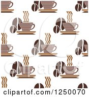 Clipart Of A Seamless Background Pattern Of Coffee Cups And Beans Royalty Free Vector Illustration